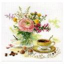 刺繍 輸入キット ALISA(アリサ) Flowers and birds Morning coffe 【メール便可】モーニングコーヒー
