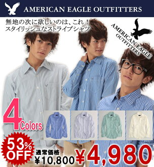 American Eagle AE men's casual shirt AE STRIPED BUTTON-DOWN (0152-8488) (S, M, L, XL, XL) shopping Marathon, cheap, sale, 50% or less,