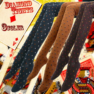 Personality sect Chang must-see ★ diamond pattern tights! to retro and forest ガールコーデ OK ♪