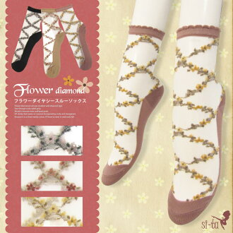 See-through Sox フラワーダイヤシースルー Sox [23-24 cm] floral sheer socks sheer socks small floral scalloped summer autumn crew socks short socks adult girly girly