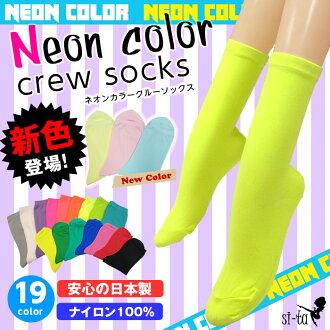 Neon color crew socks 23-24 cm-fluorescent pastel color short socks crew length socks trend fluorescent pink fluorescent yellow Lavender white grey.