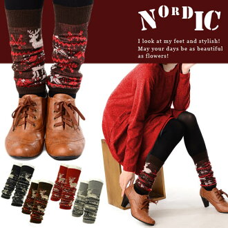 Xmas fair store products! Perfect for Nordic pattern leg warmers ★ winter ♪ the girly times UP ★ elastic ballistic feet!