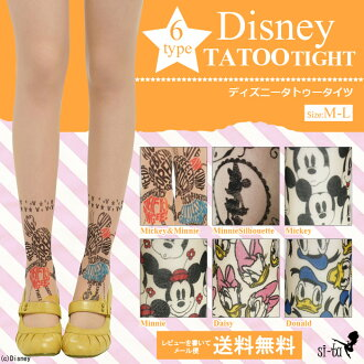 Disney tights tattoo stocking Disney crew socks ★ tattoo tights [NodeType] Mickey Minnie silhouette Daisy Donald Disney tattoo stockings