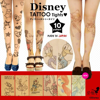 Choose from Disney tights 7 type! ディズニータトゥー tights Mickey Minnie Donald Daisy Bambi Tinkerbell tattoo stockings graffiti
