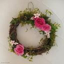 【送料無料】バラとブルースターのリース ◆ プリザーブドフラワー / ウェディング ウェルカムリース 結婚祝い プレゼント ギフト お誕生日 ピンク かわいい エレガント インテリア 母の日