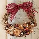【送料無料】赤リンゴのリース L/玄関外用 大きい クリスマス 外用リース ウエディング 玄関ドア 誕生日 母の日 お祝い 結婚 ナチュラル素材 インテリア