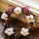 【送料無料!】綿の実のリース / クリスマス・リース・ナチュラル / お祝い・お誕生日・お礼・ホワイトデー・プレゼント・母の日・結婚祝い・新築祝い・開店祝い