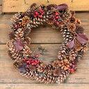 マツボックリとサンキライのリース / 松ぼっくり・松かさ・お祝い・お誕生日・お礼・ホワイトデー・プレゼント・母の日・クリスマス・秋・結婚祝い・新築祝い