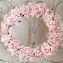 【送料無料】春爛漫ピンクのリース◆ふわふわピンク♪プリザーブドフラワー・新築祝い・お誕生日・母の日・