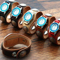 【KC,s】3コンチョウォッチブレスダブルステッチターコイズ/牛革腕時計ターコイズ文字盤