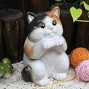 信楽焼 和風 おしゃれ 可愛い表情の猫の置物 ねこ 陶器ネコ ねこ置物 しがらき 焼き物 ギフト インテリア ok-0027