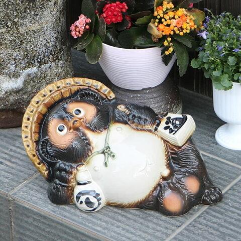 信楽焼 11号ごろ寝たぬき 信楽焼たぬき縁起物タヌキ 陶器タヌキ たぬき置物 やきもの しがらきやき 焼き物 狸 タヌキ 信楽 たぬき 文字入れ 名入れ ta-0046