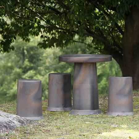 陶器 14号信楽焼ガーデンテーブル ガーデンセット te-0035 信楽焼テーブル 屋外用 イス 陶器テーブル 焼き物 ガーデンテーブルセット 送料無料 お庭、ベランダ用庭園セット