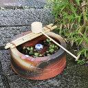 信楽焼 つくばい 竹付き陶器つくばい 和風のツクバイ鉢 陶器スイレン鉢 竹付き睡蓮鉢 和風鉢 メダカ鉢 金魚鉢 tu-0002