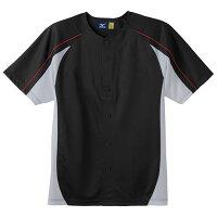 ミズノ イージーシャツ(ジュニア) ブラック×グレー×レッドステッチ Mizuno 52MJ450 09の画像
