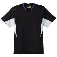 ミズノ イージーシャツ ブラック×ホワイト×パープルパイピング Mizuno 52MW451 09の画像