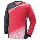 ミズノ ゲームシャツ(長袖)(バレーボール) レッド×ブラックデニム×ホワイト Mizuno V2JA6021 62