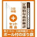 【セット商品】3m・3段伸縮のぼりポール(竿)付 のぼり旗 定期的な歯科検診 (GNB-1475)