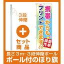 【セット商品】3m・3段伸縮のぼりポール(竿)付 のぼり旗 (GNB-254) 携帯からもプリントで