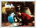 アートポスター 額入り絵画 H・ロナーニップ作 【ミスチフ ウィズ ザ ニュー ハット】 額縁(フレーム)・ヒモ付きですぐに飾れます