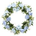 ローズリース ブルー (壁掛タイプ) (造花) 高さ28cm 光触媒 (店舗用品/光触媒 人工観葉植物・造花・フェイクグリーン/壁掛け/壁面用)