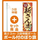 【セット商品】3m・3段伸縮のぼりポール(竿)付 のぼり旗 新さんま バックにサンマのイラスト(SNB-4261)