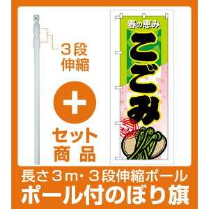 【セット商品】3m・3段伸縮のぼりポール(竿)付 のぼり旗 表示:こごみ (7880)