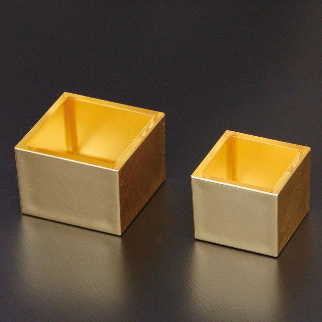 金箔貼りクリア枡 (5勺) [W26989](小鉢/金色の器・小鉢)