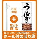 【セット商品】3m・3段伸縮のぼりポール(竿)付 のぼり旗 うなぎ 筆文字 写真使用 (SNB-4257)