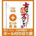 【セット商品】3m・3段伸縮のぼりポール(竿)付 のぼり旗 ナポリタンスパゲティ 名古屋名物 (白) (SNB-3533)