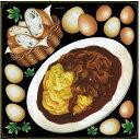オムライス・フランスパン ボード用イラストシール (販促POP/看板・ボード用デコレーションシール/洋食・カフェ)