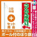 【プレゼント付】【セット商品】3m・3段伸縮のぼりポール(竿)付 のぼり旗 (2230) さくらんぼ