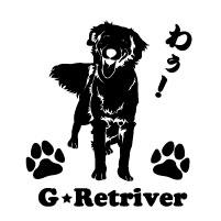 セミシルエットワンポイントステッカーゴールデンレトリバーゴールデン3犬犬ステッカーペットペットステッ