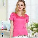 Vネック Tシャツ メール便送料無料 シルク 半袖 8色 シルク100% silk100% レディース 一枚着用 重な着 シンプル オシャレ 肌に優しい 敏感肌 低刺激 快適 保湿 母の日