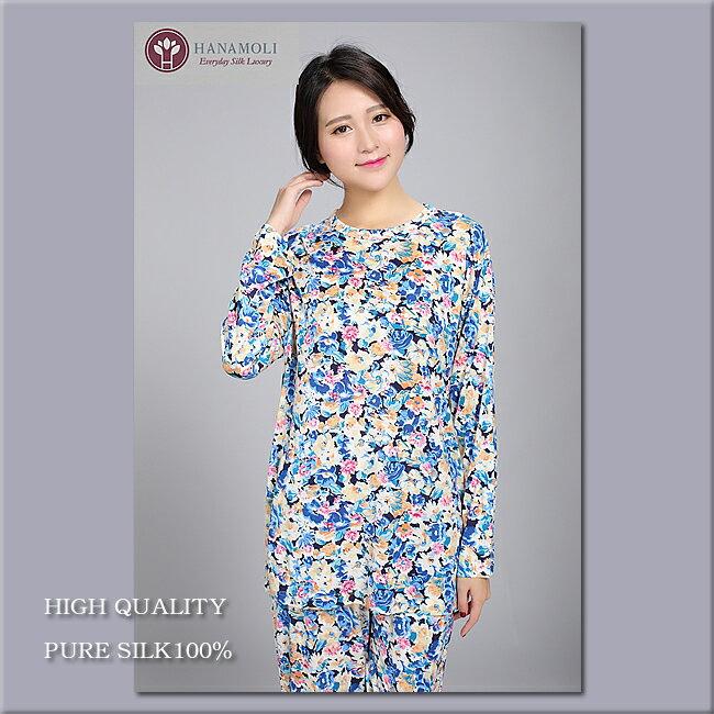 【シルク100%パジャマ】婦人ニットシルク丸首パジャマ【限定商品】610