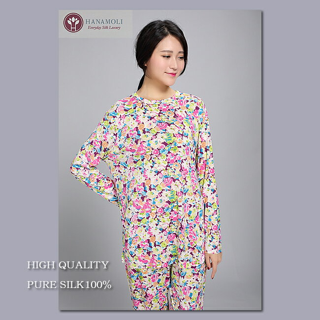 【シルク100%パジャマ】婦人ニットシルク丸首パ...の商品画像