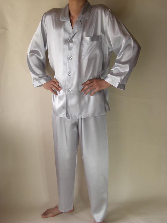【送料無料】シルクパジャマ長袖 【シルバー】シルク100%M→XXXL 《ブランド嬌奴》紳士用20色柄【あす楽対応】でお届けいたします《ブランド嬌奴》の商品については、製造中止により在庫限りになりました。