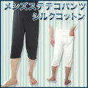 ショッピングステテコ メンズステテコパンツ シルクコットン メンズ パンツ シルク100% シルク 半袖 インナー フレンチ袖 シャツ 冷えとり 冷え取り ひえとり 冷え性 対策 肌着 汗取りインナー
