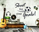 H1 【Shoot for your goals】ウォールステッカー ウォール ステッカー シール 北欧 はがせる 壁紙  サッカー/ボール/文字/英文/英文字