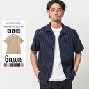 半袖シャツ ストライプ カジュアルシャツ 開襟 オープンカラー