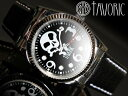 海賊の象徴スカルウォッチ!自動巻腕時計【送料無料】【TAVORIC】アリラジャ腕時計シルバーケース/ブラックレザー