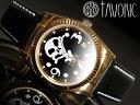 海賊の象徴スカルウォッチ!自動巻腕時計【送料無料】【TAVORIC】アリラジャ腕時計ゴールドケース/ブラックレザー