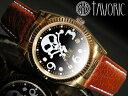 海賊の象徴スカルウォッチ!自動巻腕時計【送料無料】【TAVORIC】アリラジャ腕時計ゴールドケース/ブラウンレザー