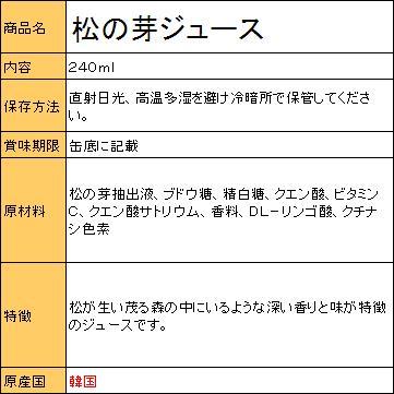 松の芽ジュース(缶) 240ml(■BOX 3...の紹介画像2
