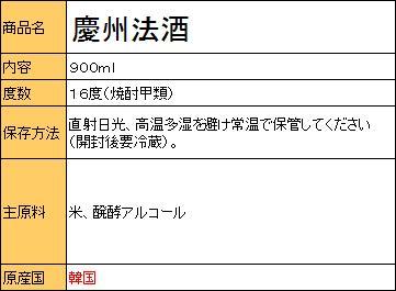 慶州法酒 900ml <韓国焼酎>の紹介画像2