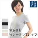 Tシャツ レディス 竹レーヨン 無地 ひんやり 冷感 抗菌 消臭 竹布 竹繊維 ギフト プレゼント  ...