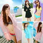 UVカット パーカー ロング ラッシュガード 水着素材 長袖 ジップアップ 水着 体型カバー レディース 女の子 かわいい