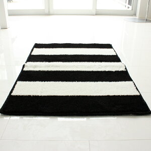 【白黒】ストライプキッチンマット90cm