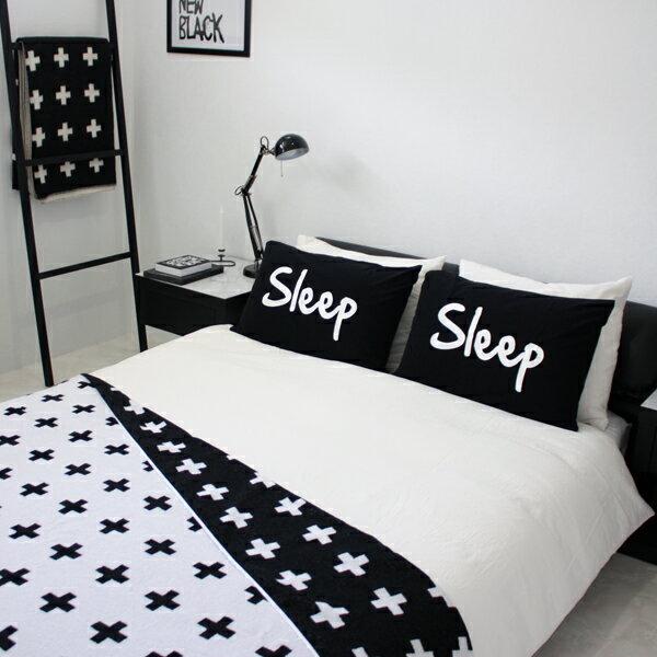 【白黒】SLEEP パイルピローカバー 黒