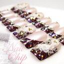 ネイルチップ ブライダル オーダー 【パープルロマンス】紫×ピンク ロング ショート